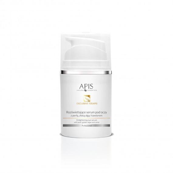 Rozświetlające serum pod oczy Apis  Exclusive Terapis z perłą, złotą algą i kawiorem 50 ml